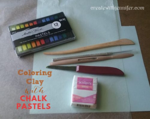 chalk pastels on clay materials