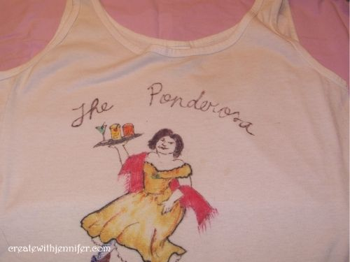 fabric pen art on tshirt