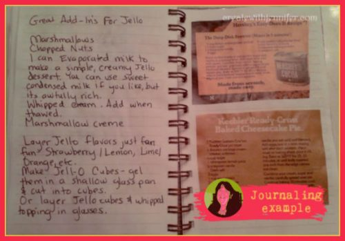 journal page book example