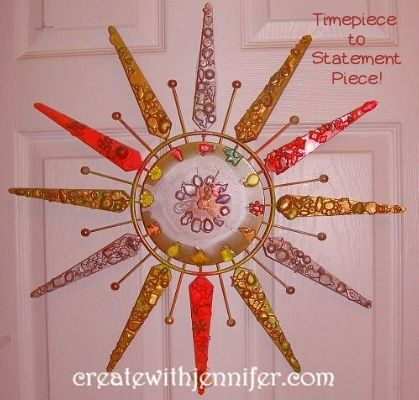 sunburst retro clock wall hanging