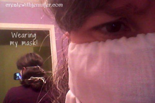 wearing handmade face mask